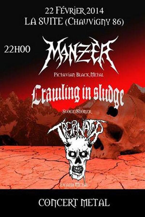 MANZER + CRAWLING IN SLUDGE + TREPANATOR @ Chauvigny (86)